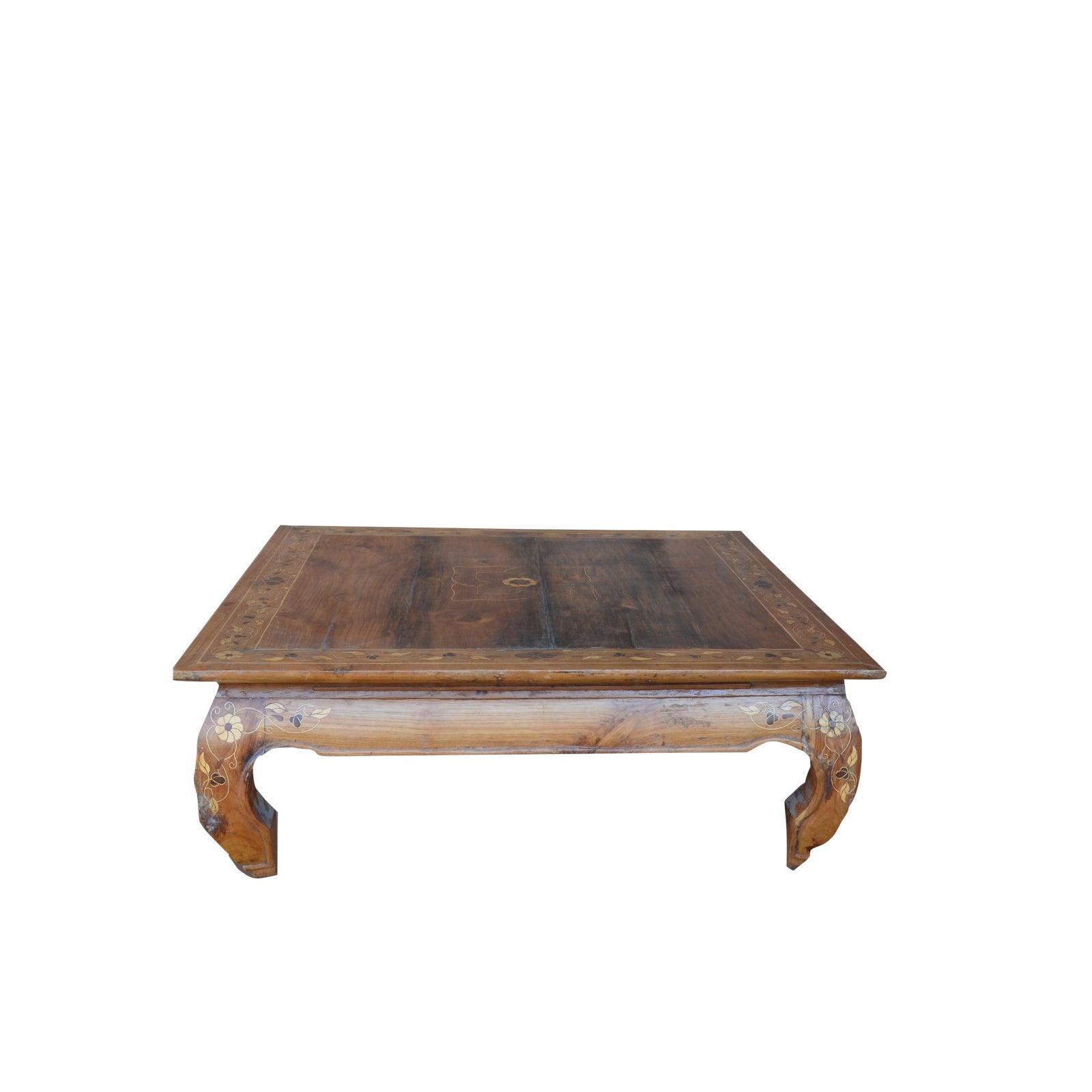 Antique light bone inlay square wood coffee table chairish