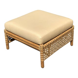 "Late 20th Century McGuire ""Antalya"" Woven Rawhide Leather Rattan Ottoman For Sale"