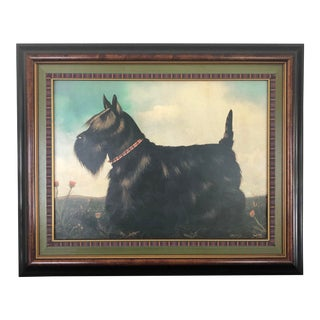 Black Scottish Terrier in Landscape Painting by Paul Stagg, Framed For Sale