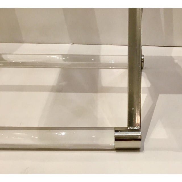 Stylish modern leather and lucite luggage rack, chrome accents, brown leather, showroom floor sample