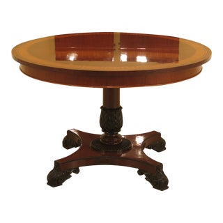 1990s Neoclassical Baker Round Mahogany Dining Room Extension Table For Sale