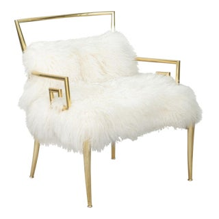 1970s Mastercraft Brass & Mongolian Lamb Fur Greek Key Chair For Sale