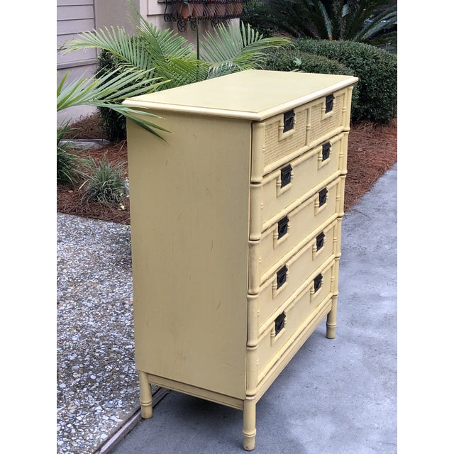 Yellow Stanley Yellow Faux Bamboo Dresser For Sale - Image 8 of 13