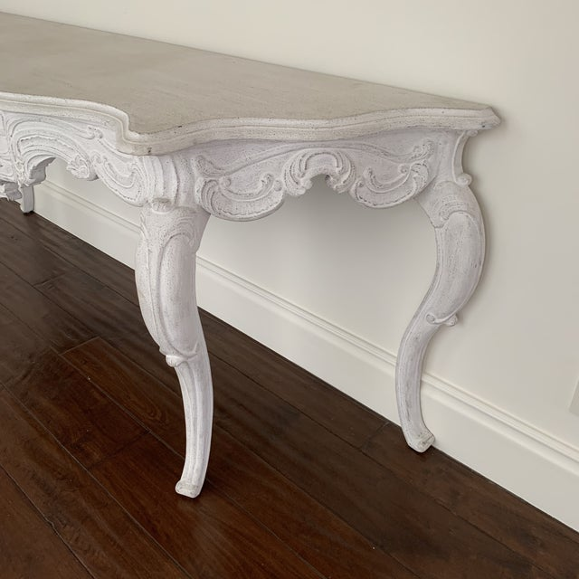 Shabby Chic White Wash Console Table For Sale - Image 3 of 9