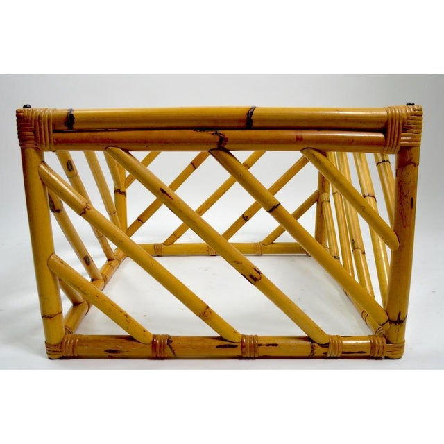 Mid 20th Century Small Square Bamboo Table by Ficks Reed For Sale - Image 5 of 8