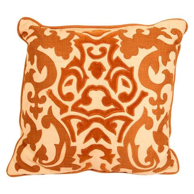 Decorative Silk Velvet Applique Throw Pillow For Sale - Image 11 of 11