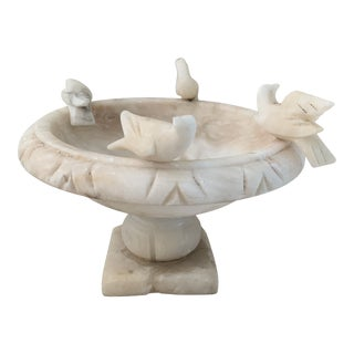 Antique Italian Carved Alabaster Bird Bowl For Sale