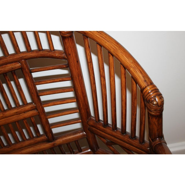 Mid 20th Century Vintage Mid Century Bamboo Rattan Pavilion Brighton Chinoiserie Chippendale Settee For Sale - Image 5 of 13