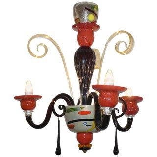 1970s Vintage Italian Design Modern Black Red Gold Murano Glass Chandelier For Sale