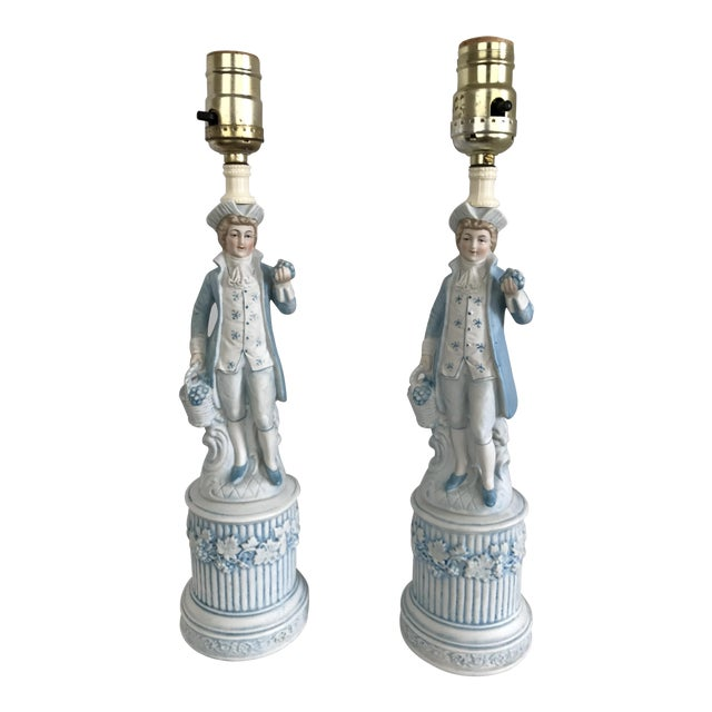 Ceramic Colonial Men Lamps by Duray - a Pair - Image 1 of 4