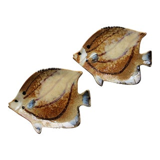 Decorative Brown Fish Ceramic Plates - a Pair