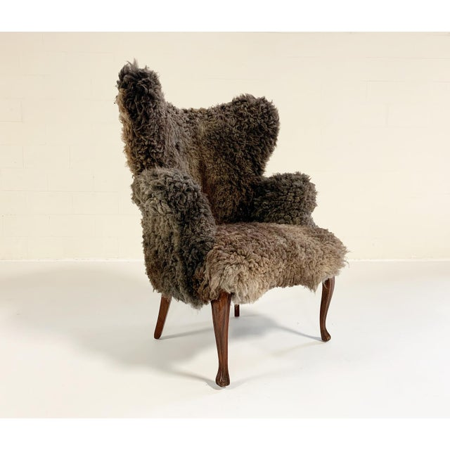 Vintage Nick Cave Wingback Armchair Restored in California Sheepskin For Sale - Image 11 of 11