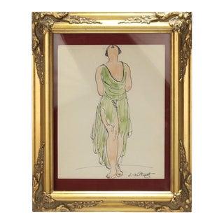 Abraham Walkowitz Ink Drawing of Ballet Dancer Isadora Duncan in Green For Sale