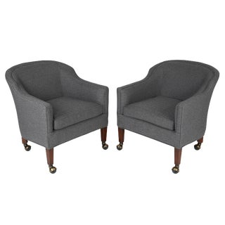 1960's Vintage Barrel Back Chairs on Casters- A Pair For Sale