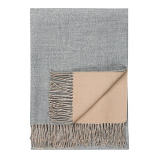 Baby Alpaca Reversible Throw, Gray/Camel For Sale