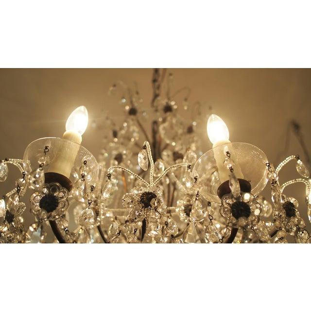 Eight Light Crystal Chandelier with Flowers on Beaded Stems For Sale - Image 9 of 10