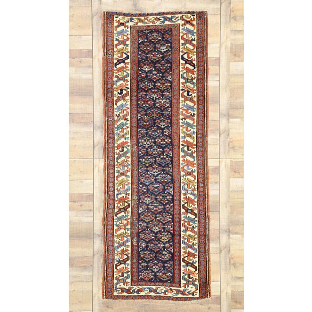 Blue 19th Century Persian Kazak Tribal Hallway Runner - 3′4″ × 8′10″ For Sale - Image 8 of 9