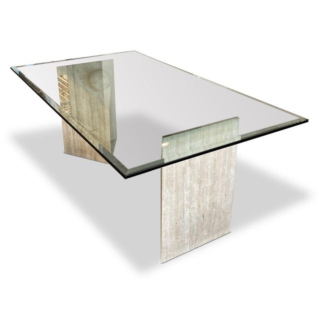 1990s Travertine + Glass Dining Table For Sale - Image 4 of 4