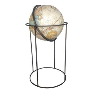 Mid-Century Modern Brass Globe & Stand For Sale
