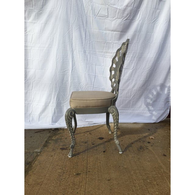 Shell Back Grotto Cast Aluminum Chairs & Glass Top Table - Image 4 of 8