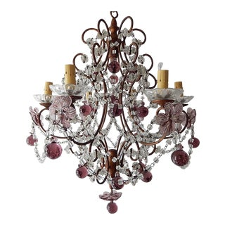 1920s French Amethyst Murano Drops & Flowers Crystal Chandelier For Sale