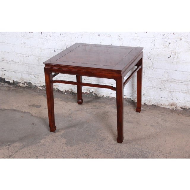 Wood Henredon Hollywood Regency Chinoiserie Burl Wood and Mahogany Side Table For Sale - Image 7 of 7