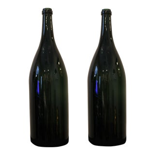 19th Century Green Hand-Blown Spanish Wine Bottles - a Pair For Sale