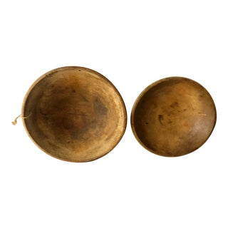 Antique 1900's American Wood Bowls - a Pair For Sale