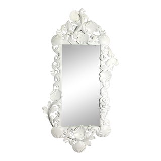 White Iron Sea Shell Mirror For Sale