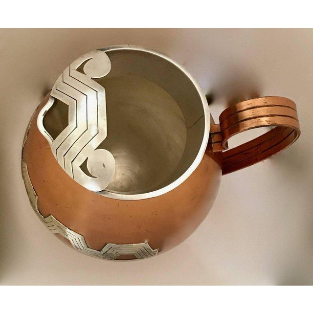 Modern 1960s Mexican Modernist Taxco Victoria Copper and Sterling Water Pitcher For Sale - Image 3 of 9