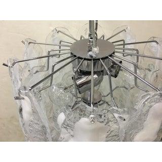 Italian White and Transparent Murano Glass Chrome Metal Frame Sputnik Chandelier Preview