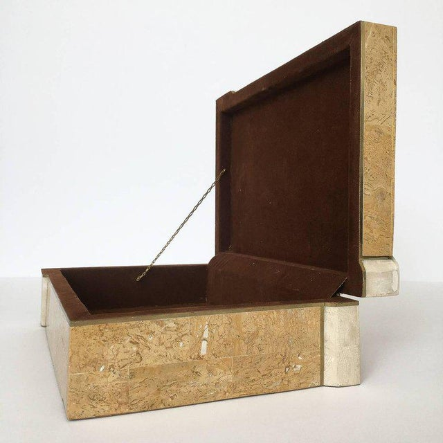 1970s Maitland-Smith Asymmetrical Tessellated Stone Brass Box For Sale - Image 5 of 10