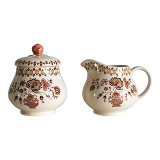 Johnson Brothers Vintage English Ironstone Creamer & Sugar Bowl - A Pair For Sale