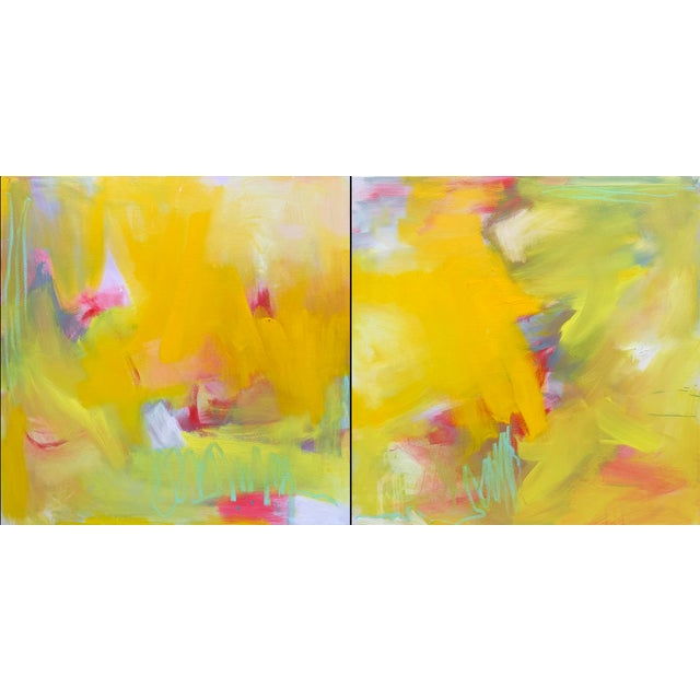 """Up and Away"" by Trixie Pitts Large Abstract Diptych Oil Painting For Sale - Image 13 of 13"