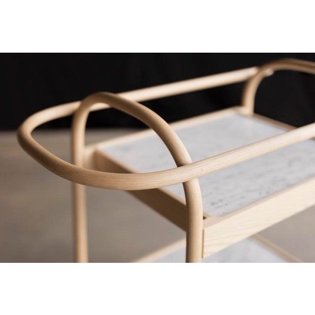 Not Yet Made - Made To Order U3 Bar Cart / Serving Trolly in Ash & White Carrara Marble For Sale - Image 5 of 6