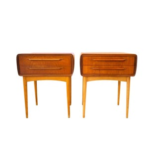 1950s Scandinavian Modern Johannes Andersen Teak Night Tables - a Pair For Sale