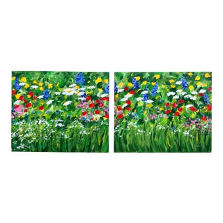 "Original Teresa M. Turner ""Freedom Garden"" Diptych Paintings- a Pair For Sale"