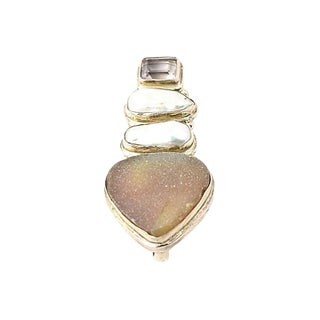Drusy Quartz, Pearl & Amethyst Pendant For Sale