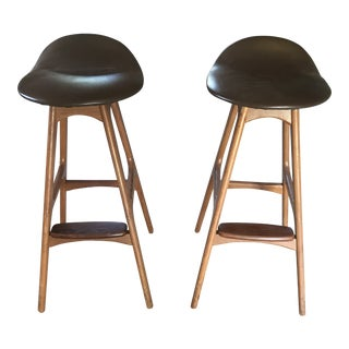 Danish Modern Erik Buch Buck Rosewood & Teak Bar Stools - A Pair For Sale