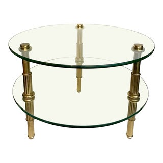 1950's Brass and Glass Side Table For Sale