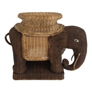 1970s Wicker Elephant Side Table For Sale