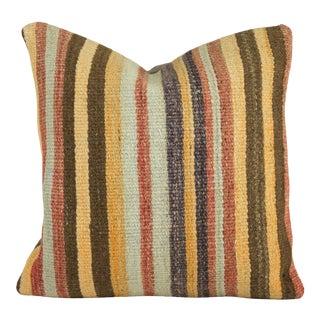Boho Chic Multi-Colored Square Kilim Pillow Cover- 16 Inch For Sale