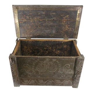 Russian Hand Tooled Brass Wedding Chest For Sale