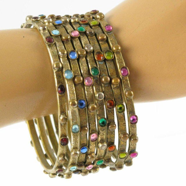 French Henry Perichon Gilt Bronze Bracelet Bangle Spacer 8 Pieces With Stones For Sale In Atlanta - Image 6 of 8