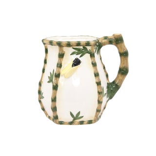 1960s Vintage Ceramic Bamboo and Insect Pitcher For Sale