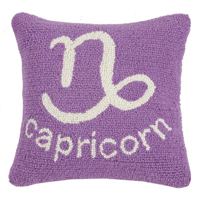 """Contemporary Capricorn Hook Pillow, 14"""" x 14"""" For Sale - Image 3 of 3"""