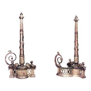 Louis XVI Bronze Dore Andirons - a Pair For Sale