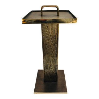 Unique Mid-Century Modern Brutalist Style Handled Solid Brass Drinks Table For Sale