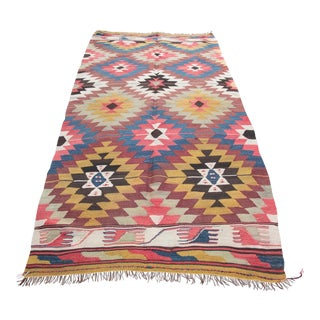 1930s Vintage Turkish Handwoven Kilim Rug - 3′5″ × 7′8″ For Sale