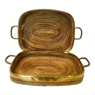 Vintage Gabriella Crespi Inspired Rattan and Brass Trays - Set of 2 For Sale